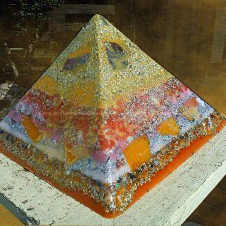 Pyramid Orgonite crystal apple, beeswax minerals metals and crystals.