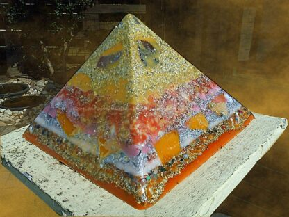 Pyramid Orgonite crystal apple, beeswax minerals metals and crystals.