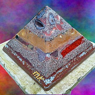 Pyramid Orgonite 11-11, 24 cm side, beeswax minerals crystals and metals.