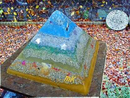Pyramid Orgonite Blue Rose, 24 cm side, beeswax minerals metals and crystals.