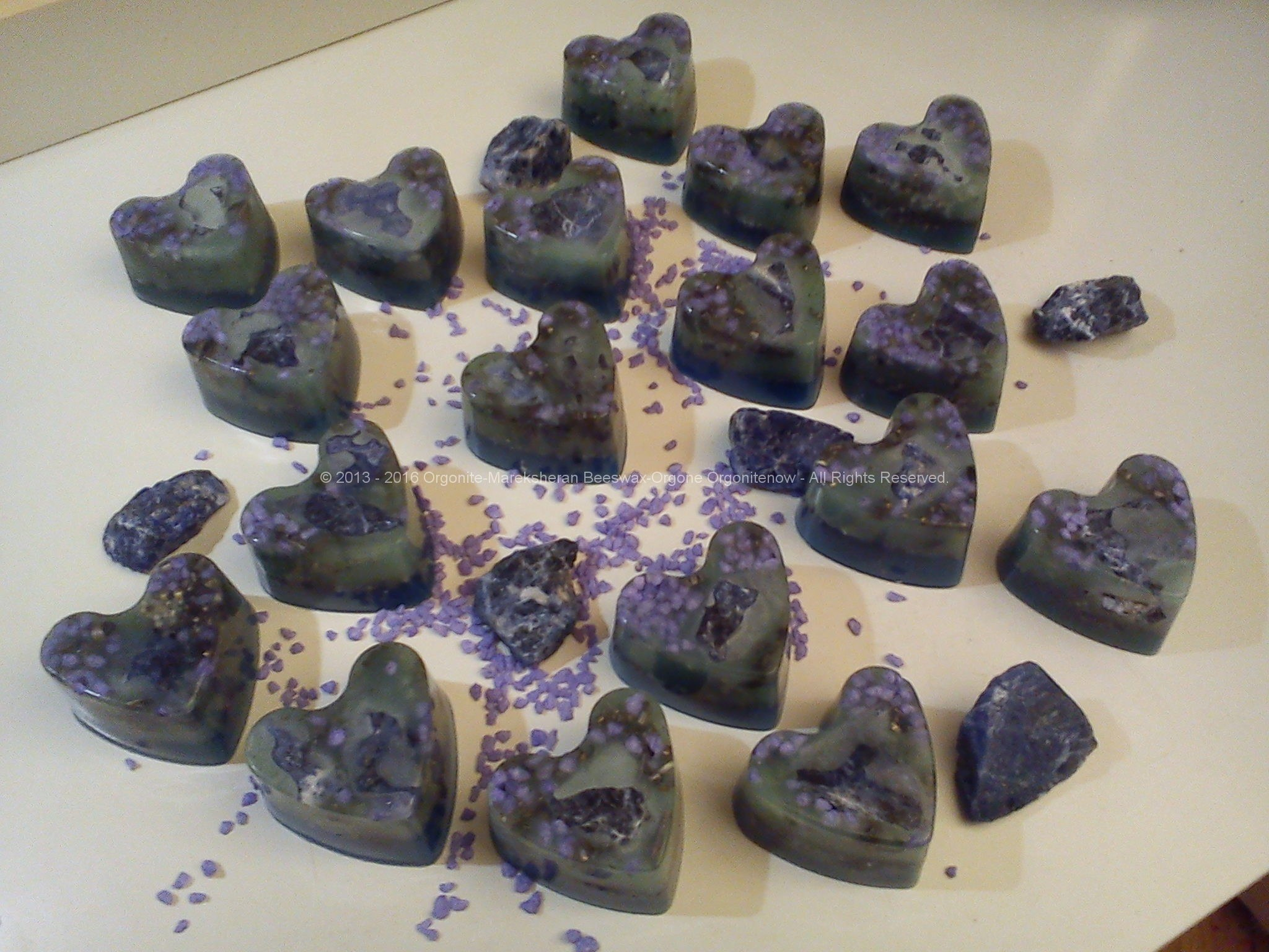 Orgonite beeswax hearts, art energy by Marco Matteucci aka Marek Sheran