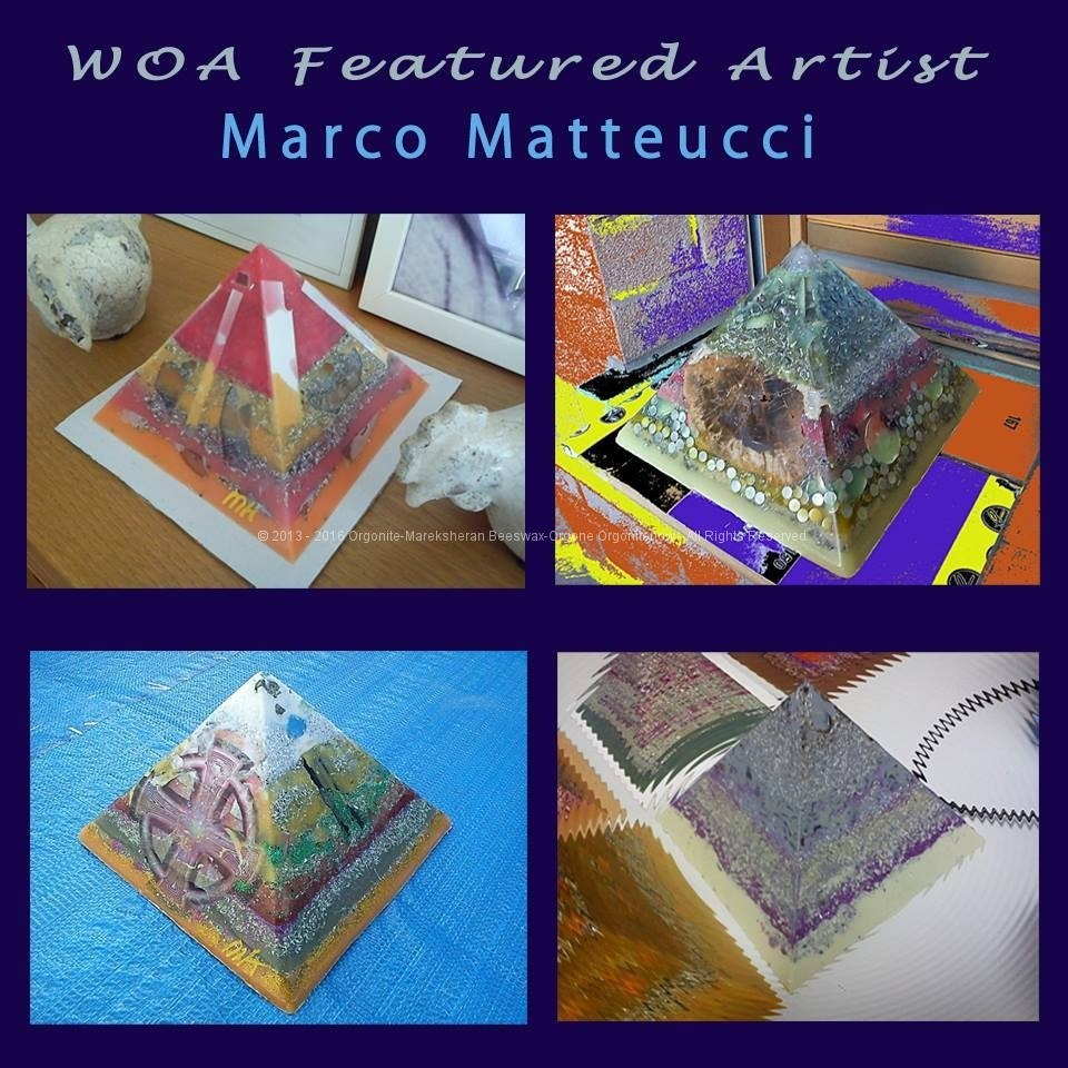 Orgonite pyramid art awards - Marco Matteucci WOA Tribute, Art Energy by Marek Sheran, beeswax orgonite