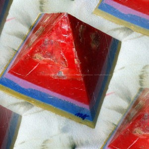 Roermond Strand pyramid orgonite 24 cm side, beeswax minerals crystals and metals.