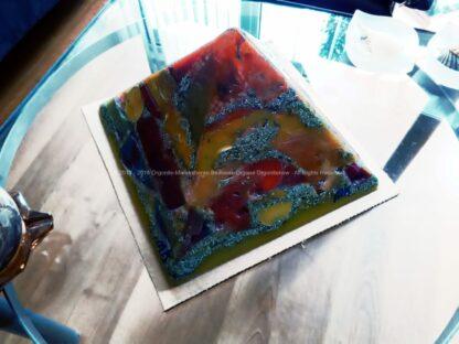 Abstrakta pyramid orgonite 24 cm, beeswax and metals, crystal of quartz and rose quartz.