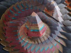 Equinox Golden pyramid beeswax orgonite