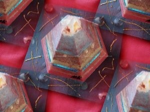 Equinox Golden pyramid beeswax orgonite