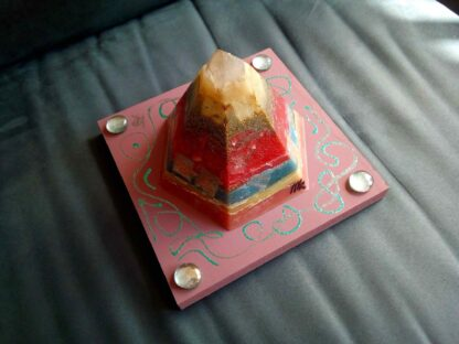 Golden pyramid beeswax orgonite one